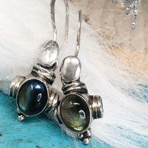Sterling Green Blue Gemstone Drop Earrings